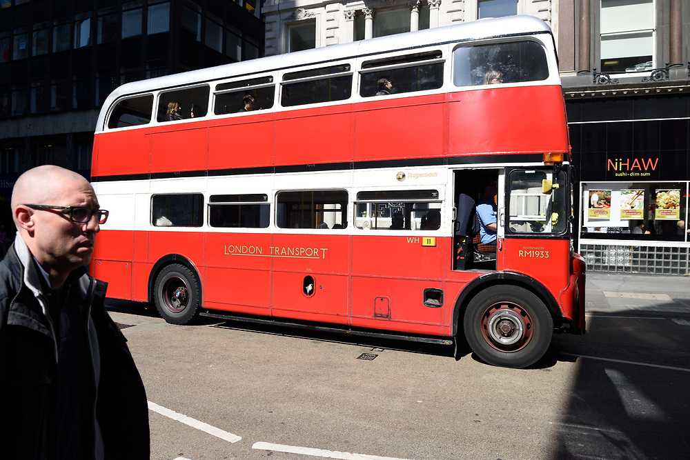 An old classc double-decker bus in a London  on April 23, 2015. Photo by Gili Yaari