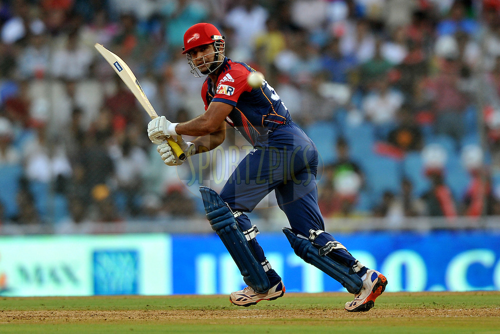 Irfan Pathan of Delhi Daredevils bats during  match 16 of the Indian Premier League ( IPL ) Season 4 between the Pune Warriors and the Delhi Daredevils held at the Dr DY Patil Sports Academy, Mumbai India on the 17th April 2011..Photo by Pal Pillai/ BCCI/SPORTZPICS