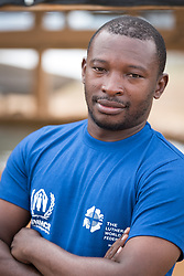 30 May 2019, Mokolo, Cameroon: Lutheran World Federation staff Clotaire Angoto Abrago serves as WASH supervisor at the Minawao camp for Nigerian refugees.  The Minawao camp for Nigerian refugees, located in the Far North region of Cameroon, hosts some 58,000 refugees from North East Nigeria. The refugees are supported by the Lutheran World Federation, together with a range of partners.