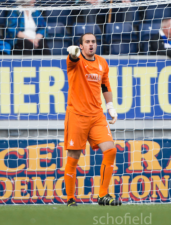 Falkirk's keeper Jamie MacDonald.<br /> Falkirk 1 v 1 Queen of the South, Scottish Championship game played today at The Falkirk Stadium.