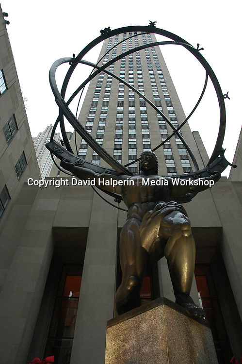 Rockefeller Center statue; St. Patrick's cathedral.