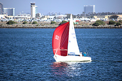Red and White Sails, North San Diego Bay, California, USA