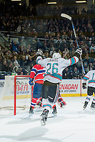 KELOWNA, CANADA - FEBRUARY 27: Cole Linaker #26 of Kelowna Rockets celebrates the second goal of the first period against the Spokane Chiefs on February 27, 2016 at Prospera Place in Kelowna, British Columbia, Canada.  (Photo by Marissa Baecker/Shoot the Breeze)  *** Local Caption *** Cole Linaker;