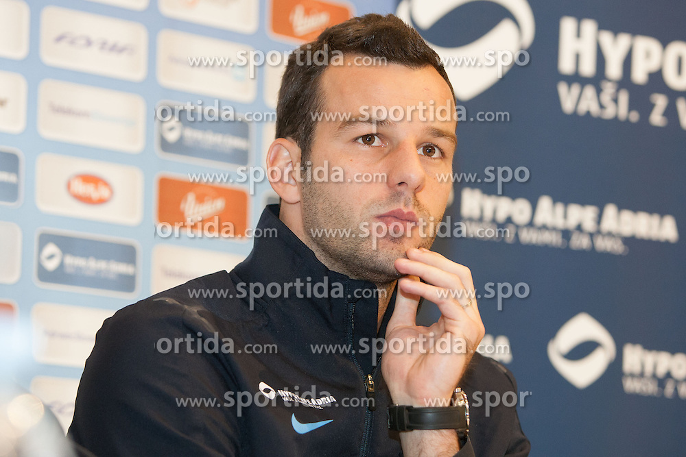 Sani Handanovic during press conference of Slovenian National football team before World Cup Qualifications match against Cyprus on October 10, 2012 in Qlandia, Maribor, Slovenia. (Photo By Gregor Krajncic / Sportida)