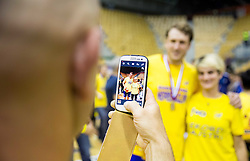 Fans with David Miklavcic of RK Celje PL celebrate after winning during handball match between RK Celje Pivovarna Lasko and RK Gorenje Velenje in 3rd Round of Final of 1st NLB League and Slovenian National Handball Championship 2014/15, on May 28, 2015 in Arena Zlatorog, Celje, Slovenia. RK Celje Pivovarna Lasko won 3rd time and became Slovenian National Champion 2015. Photo by Vid Ponikvar / Sportida