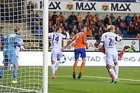 Eliteserien fotball 2015: Aalesund - Sandefjord. Aalesunds Mostafa Abdellaoue (nr 2 f.h.) setter inn 1-1 i duell med Lars Grorud i eliteseriekampen mellom Aalesund og Sandefjord på Color Line Stadion.