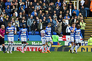 Reading Players Celebrate after Reading Forward, Jon Daoi Boovarsson (23) scores to make it 1-0 during the EFL Sky Bet Championship match between Reading and Leeds United at the Madejski Stadium, Reading, England on 10 March 2018. Picture by Adam Rivers.