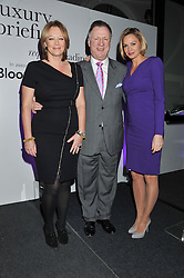 Left to right,  KATE PATRICK editot of Luxury Briefing, JAMES REATCHLOUS and LINZIE JANIS Bloomberg anchor at the 2012 Luxury Briefing Awards in association with Bloomberg held at the Corinthia Hotel, London on 14th March 2012.