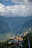View of the village of Kalpa, with the Kinnaur Kailash mountain range further away.