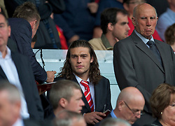 LIVERPOOL, ENGLAND - Saturday, April 23, 2011: Liverpool's Andy Carroll before his side's Premiership match against Birmingham City at Anfield. (Photo by David Rawcliffe/Propaganda)