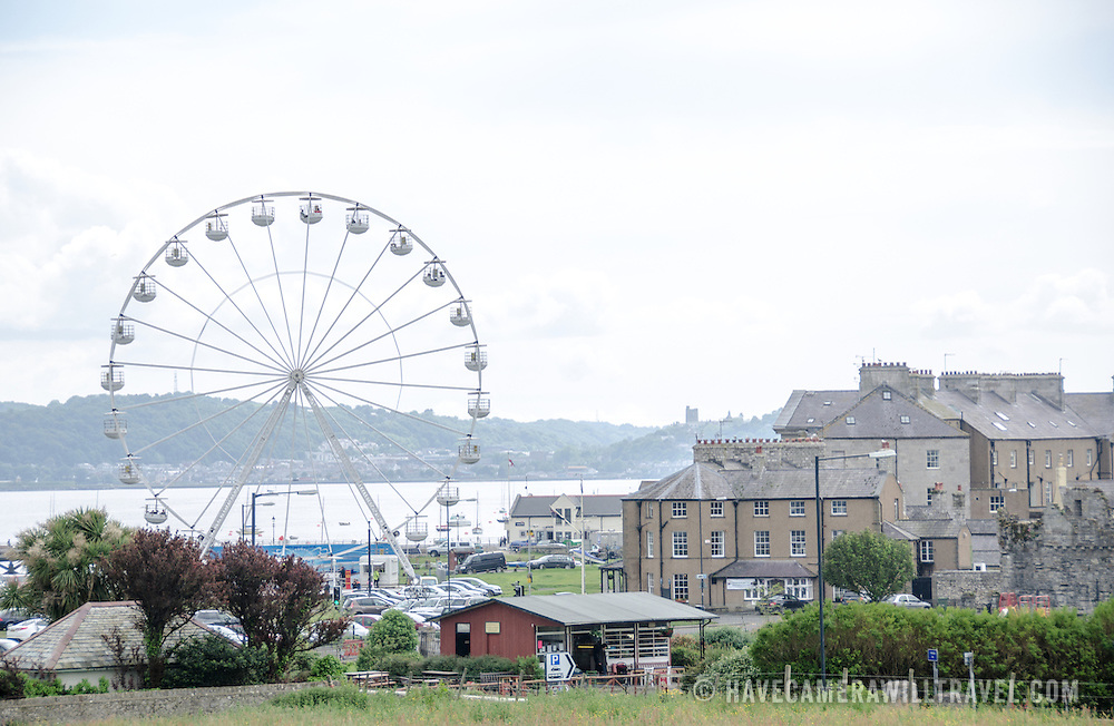 The skyline with ferris wheel in Beaumaris on the island of Anglesey of the north coast of Wales, UK.