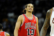 Apr 27, 2010; Cleveland, OH, USA; Chicago Bulls center Joakim Noah (13) reacts after the Cleveland Cavaliers scored during the second period in game five in the first round of the 2010 NBA playoffs at Quicken Loans Arena.  Mandatory Credit: Jason Miller-US PRESSWIRE