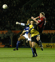 LEICESTER CITY/MANCHESTER CITY FA CUP 3RD ROUND REPLAY 14/01/04 PHOTO TIM PARKER FOTOSPORTS INTL MANCHESTER CITY KEEPER KEVIN STUHR-ELLEGAARD & RICHARD DUNNE DENY LEICESTER LES FERDINAND