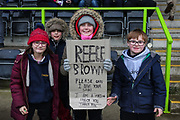 Young FGR fans during the EFL Sky Bet League 2 match between Forest Green Rovers and Notts County at the New Lawn, Forest Green, United Kingdom on 9 February 2019.