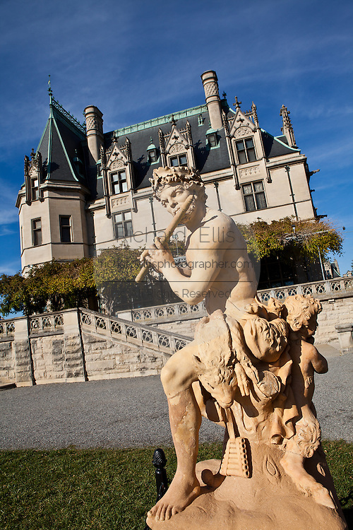 View of the Biltmore Estate from the South Terrace privately owned by the Vanderbilt family in Asheville, NC. The house is the largest private home in America with over 250 rooms.