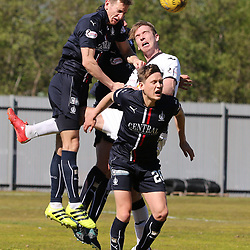 Robert Thomson is sandwiched  during the Dumbarton v Falkirk Scottish Championship 06 May 2017<br /> <br /> <br /> <br /> <br /> <br /> (c) Andy Scott | SportPix.org.uk