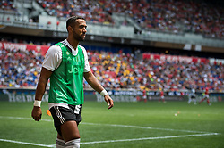 July 28, 2018 - Harrison, New Jersey, United States - Juventus defender MEDHI BENATIA (4) warms up tp play during the International Champions Cup at Red Bull Arena in Harrison, NJ.  Juventes defeats SL Benfica 1-1  (Credit Image: © Mark Smith via ZUMA Wire)