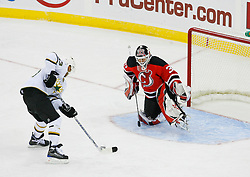 Oct 22, 2008; Newark, NJ, USA; New Jersey Devils goalie Martin Brodeur (30) makes a save against Dallas Stars center Mike Ribeiro (63) during the third period at the Prudential Center. The Devils defeated the Stars 5-0.