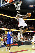 Jan 31, 2010; Cleveland, OH, USA; Cleveland Cavaliers forward LeBron James (23) goes up for a dunk during the first quarter against Los Angeles Clippers at Quicken Loans Arena. Mandatory Credit: Jason Miller-US PRESSWIRE