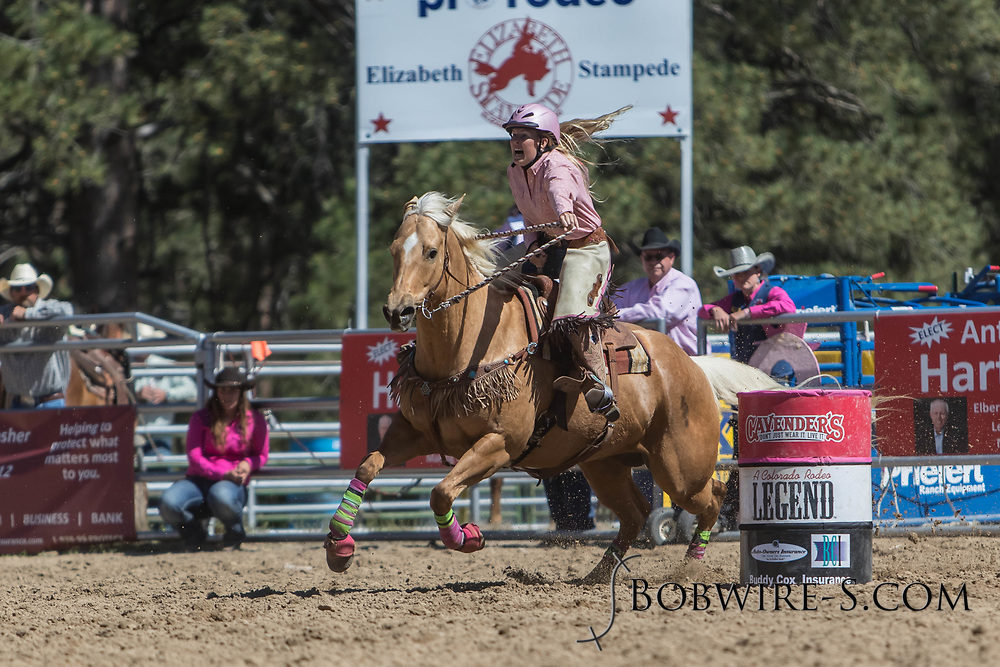 Jessica Stolzenberger makes her barrel racing run in the first performance of the Elizabeth Stampede on Saturday, June 2, 2018.