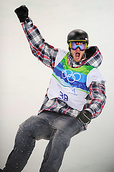 Olympic Winter Games Vancouver 2010 - Olympische Winter Spiele Vancouver 2010, Snowboard (Men's Halfpipe), Scott Lago of the United States celebrates after his first run during the finals of the men's snowboard halfpipe competition at Cypress Mountain in Vancouver BC, Canada during the 2010 Winter Olympics Wednesday February 17, 2010. Lago took the bronze medal.Photo by newsport / HOCH ZWEI / SPORTIDA.com..... *** Local Caption *** +++ www.hoch-zwei.net +++ copyright: HOCH ZWEI / newsport +++