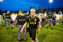 ZUG, SWITZERLAND - Wednesday, July 21, 2010: Liverpool's Steven Irwin walks off the pitch after the Reds' first preseason match of the 2010/2011 season against Grasshopper Club Zurich at the Herti Stadium. (Pic by David Rawcliffe/Propaganda)