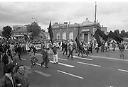 H-Block Protest To British Embassy.  (N86)..1981..18.07.1981..07.18.1981..18th July 1981..A protest march to demonstrate against the H-Blocks in Northern Ireland was held today in Dublin. After the death of several hunger strikers in the H-Blocks feelings were running very high. The protest march was to proceed to the British Embassy in Ballsbridge...Image shows the marchers passing the RDS in dublin's Ballsbridge.