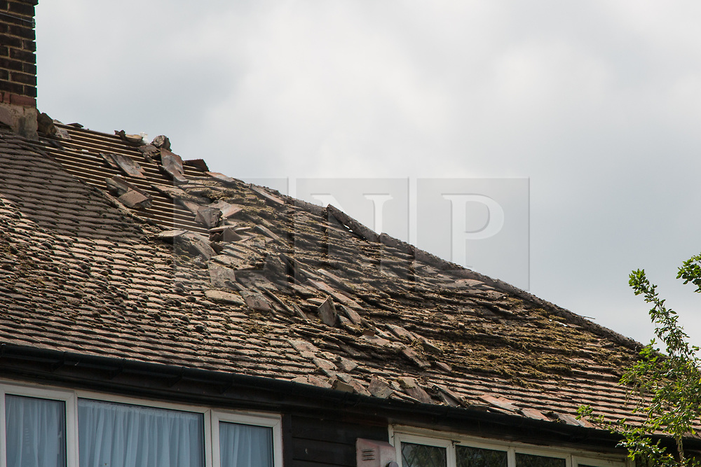 © Licensed to London News Pictures. 22/06/2017. Gravesend, UK. A roof in Gravesend was almost destroyed this morning by a lightning strike during a thunder storm at the end of the recent heatwave. Photo credit : Rob Powell/LNP
