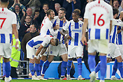 GOAL - Brighton and Hove Albion striker Glenn Murray (17) celebrates with Brighton and Hove Albion defender Shane Duffy (4) 1-0 during the Premier League match between Brighton and Hove Albion and West Ham United at the American Express Community Stadium, Brighton and Hove, England on 5 October 2018.