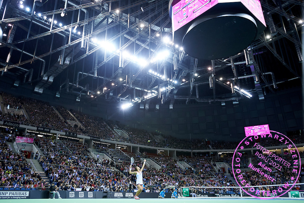 Agnieszka Radwanska from Poland in action during Second Day of the Fed Cup / World Group 1st round tennis match between Poland and Russia at Tauron Krakow Arena on February 8, 2015 in Cracow, Poland.<br /> <br /> Poland, Cracow, February 8, 2015<br /> <br /> Picture also available in RAW (NEF) or TIFF format on special request.<br /> <br /> For editorial use only. Any commercial or promotional use requires permission.<br /> <br /> Adam Nurkiewicz declares that he has no rights to the image of people at the photographs of his authorship.<br /> <br /> Mandatory credit:<br /> Photo by &copy; Adam Nurkiewicz / Mediasport