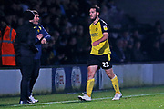 John-Joe O'Toole receives a red card during the EFL Sky Bet League 1 match between Burton Albion and Southend United at the Pirelli Stadium, Burton upon Trent, England on 3 December 2019.