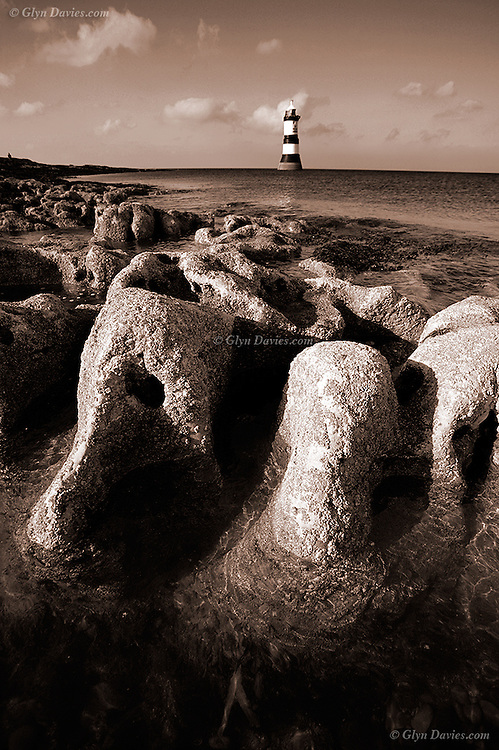 Eroded limestone rocks at Penmon Lighthouse, East Anglesey