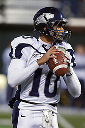 January 9, 2011; San Francisco, CA, USA;  Nevada Wolf Pack quarterback Colin Kaepernick (10) warms up before the 2011 Fight Hunger Bowl against the Boston College Eagles at AT&T Park.