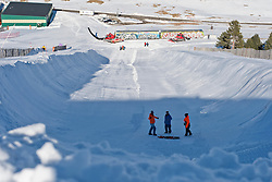 Getting ready for the banked slalom,  2015 IPC Snowboarding World Championships, La Molina, Spain