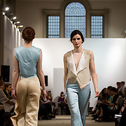 13.05.2016.           <br /> A model showcases designs by Isabelle Balikeova titled 'Eruo'  at the much anticipated Limerick School of Art & Design, LIT, (LSAD) Graduate Fashion Show on Thursday 12th May 2016. The show took place at the LSAD Gallery where 27 graduates from the largest fashion degree programme in Ireland showcased their creations. Ranked among the world's top 50 fashion colleges, Limerick School of Art and Design is continuing to mold future Irish designers.. Picture: Alan Place/Fusionshooters