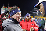 PITTSBURGH - JANUARY 23:  Head coach Bill Belichick (left) and defensive coordinator Romeo Crennel of the New England Patriots celebrate their win over the Pittsburgh Steelers during the AFC Championship game at Heinz Field on January 23, 2005 in Pittsburgh, Pennsylvania. The Pats defeated the Steelers 41-27. ©Paul Anthony Spinelli  *** Local Caption *** Bill Belichick; Romeo Crennel