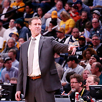09 April 2018: Portland Trail Blazers head coach Terry Stotts is seen during the Denver Nuggets 88-82 victory over the Portland Trail Blazers, at the Pepsi Center, Denver, Colorado, USA.