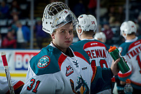 KELOWNA, CANADA - FEBRUARY 17: Brodan Salmond #31 of the Kelowna Rockets stands at the bench during warm up against the Edmonton Oil Kings  on February 17, 2018 at Prospera Place in Kelowna, British Columbia, Canada.  (Photo by Marissa Baecker/Shoot the Breeze)  *** Local Caption ***