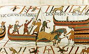 Bayeux Taestry 1067:  Horses being unloaded from Norman boats at Pevensey, south coast of England, 28 September 1066.  Battle of Hastings between William of Normandy and Harold of England, 14 October 1066. Invasion Textile Linen