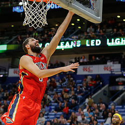 Feb 14, 2018; New Orleans, LA, USA; New Orleans Pelicans forward Nikola Mirotic (3) shoots against the Los Angeles Lakers during the second half at the Smoothie King Center. The Pelicans defeated the Lakers 139-117. Mandatory Credit: Derick E. Hingle-USA TODAY Sports
