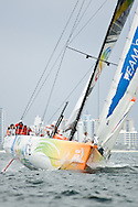 Sanya sailing upwind during in-port race at 2011-2012 Volvo Ocean Race Miami.