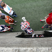 A member of the Boston Cannons prepares to take the field as fans look on prior to the game at Harvard Stadium on May 10, 2014 in Boston, Massachusetts. (Photo by Elan Kawesch)