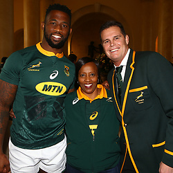 Siya Kolisi (captain) of South Africa with Rassie Erasmus (Head Coach) of South Africa during the South African Springbok team photo,at the The Cullinan Hotel in Cape Town.South Africa. 22,06,2018 22,06,2018 Photo by (Steve Haag JMP)