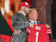 Apr 25, 2019; Nashville, TN, USA; Ohio State defensive end Nick Bosa poses with NFL commissioner Roger Goodell after being selected as the No. 2 pick of the first round by the San Fransisco 49ers during the 2019 NFL Draft. (Kim Hukari/Image of Sport)