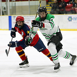 WELLINGTON, ON - OCTOBER 5: Jacob Vreugdenhill #16 of the Wellington Dukes and Jamie Engelbert #11 of the Cobourg Cougars pursues the play in the first period on October 5, 2018 at Wellington and District Community Centre in Wellington, Ontario, Canada.<br /> (Photo by Ed McPherson / OJHL Images)