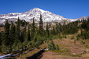 Mt. Rainier overlooks Van Trump Park on the southeast side of the volano on this late October day.