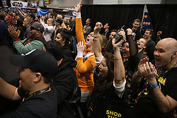 Star Wars fans look up at the screens to view and cheer as the new Star Wars trailer plays on the screen during the Star Wars Celebration, at McCormick Place in Chicago, IL, USA on Friday, April 12, 2019. Photo by Antonio Perez/Chicago Tribune/TNS/ABACAPRESS.COM