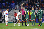 Neven Subotic of Saint Etienne Yellow card and Ruddy Buquet referee and Memphis Depay of Lyon during the French Championship Ligue 1 football match between Olympique Lyonnais and AS Saint-Etienne on february 25, 2018 at Groupama stadium in Décines-Charpieu near Lyon, France - Photo Romain Biard / Isports / ProSportsImages / DPPI