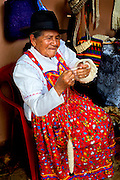 Colombia, Villa de Leyva, Boyaca Province, Colonial Town, Traditional Hand Weaver, Real Fabrica de Licores Colonial Museum