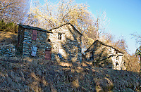 Ticino, Southern Switzerland. Run-down, rustic, traditional mountain buildings in Italy.